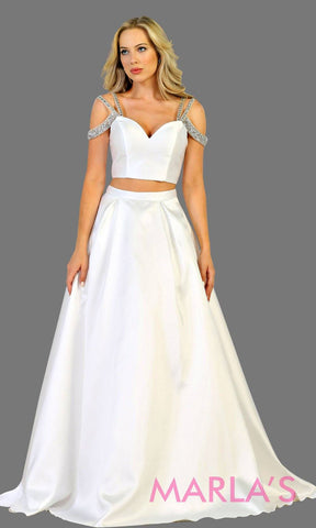 Long two piece satin white off shoulder evening gown. This ball gown is perfect for wedding reception, wedding engagement, simple wedding, second wedding, destination wedding, quinceanera ball gown. Plus size available.
