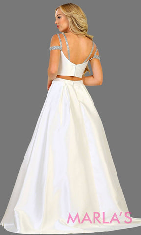 Back of Long two piece satin white off shoulder evening gown. This ball gown is perfect for wedding reception, wedding engagement, simple wedding, second wedding, destination wedding, quinceanera ball gown. Plus size avail