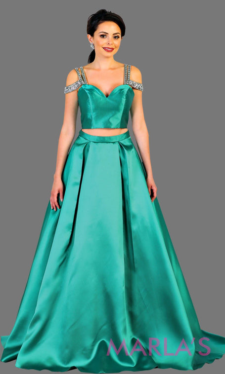 2e635c4d6c1 Long two piece satin emerald green off shoulder evening gown. This mint  green ball gown