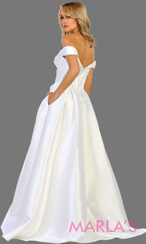 Back of Long offshoulder white satin bridal ballgown evening dress. This bridal ball gown is perfect for wedding reception, engagement shoot, engagement dress. Plus size available.