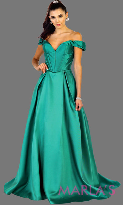 Long offshoulder emerald green satin ballgown evening dress. This green gown is perfect for gala, wedding reception, engagement shoot, formal wedding guest dress, long western party dress. Plus size available.