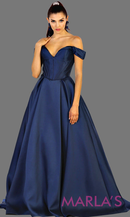 Long offshoulder navy blue satin ballgown evening dress. This dark blue gown is perfect for gala, wedding reception, engagement shoot, formal wedding guest dress, long western party dress. Plus size available.