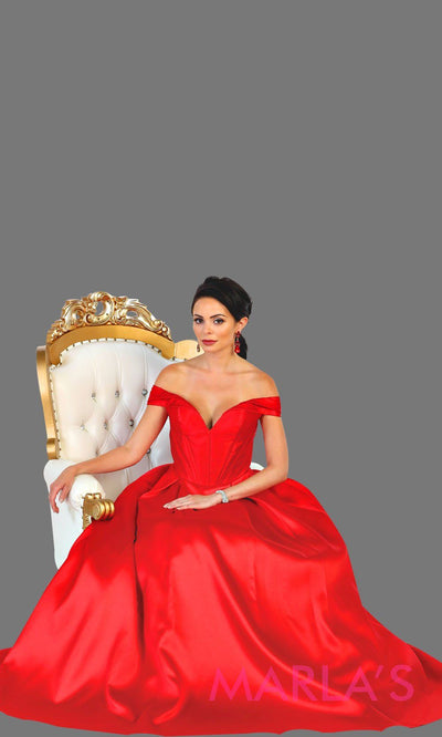Long offshoulder red satin ballgown evening dress. This red gown is perfect for gala, wedding reception, engagement shoot, formal wedding guest dress, lehnga, long western party dress. Plus size available.