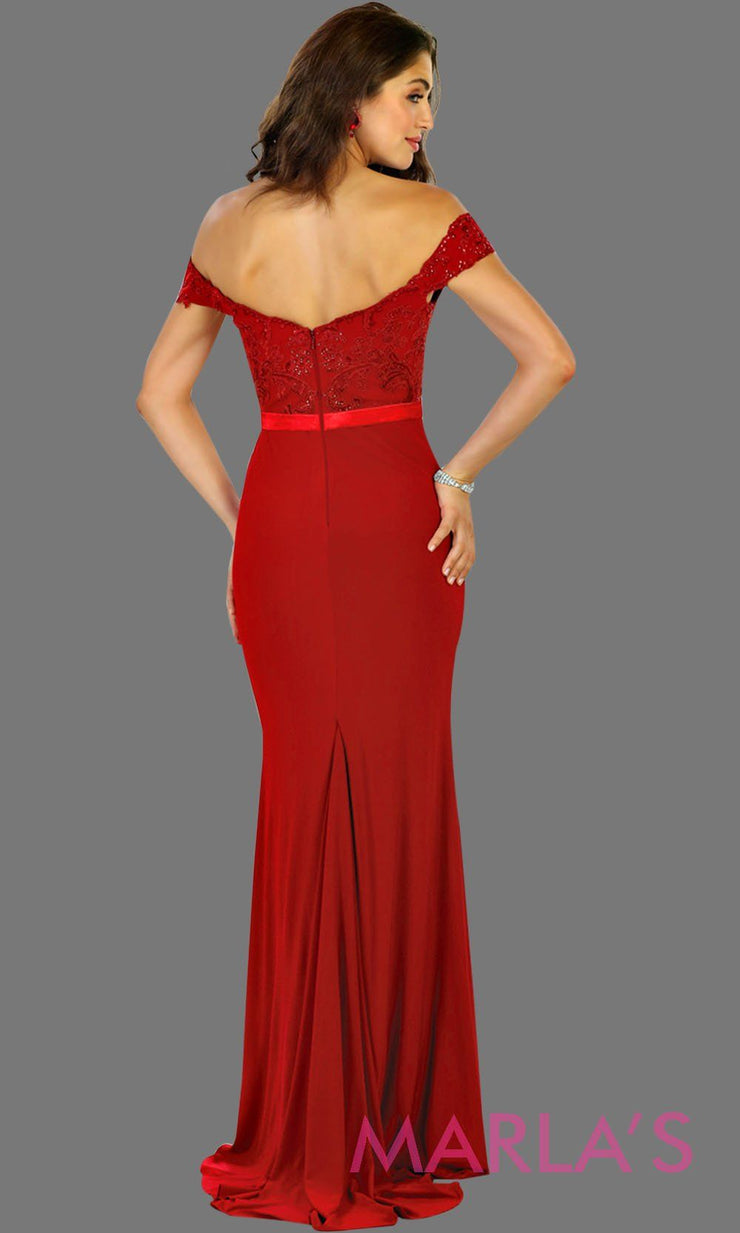 Back of Long red off shoulder fitted dress with lace top. This sleek and sexy evening dress is perfect for gala, charity event, formal wedding guest dress, long western party dress. Plus sizes avail.