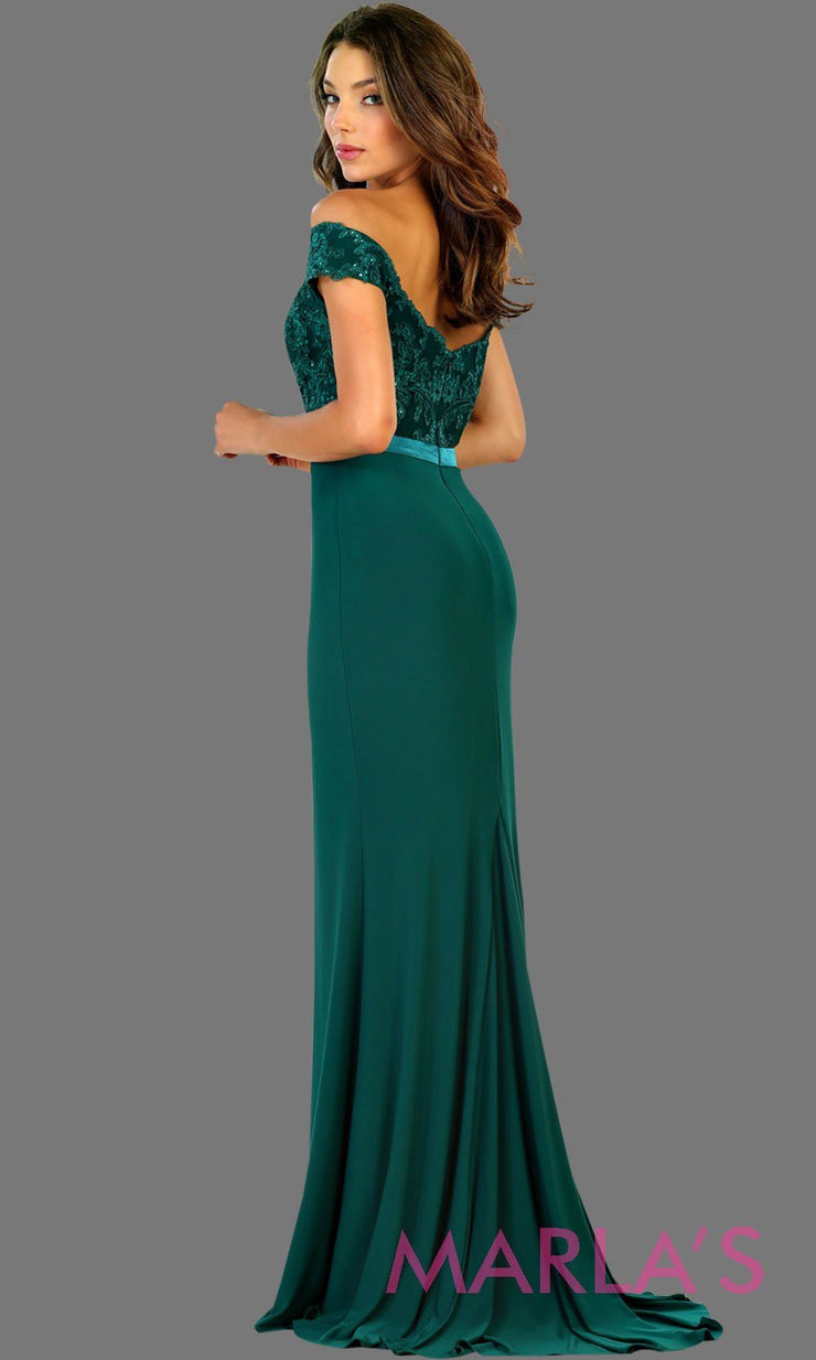 Long emerald green off shoulder fitted dress with lace top. This sleek and sexy dark green evening dress is perfect for gala, charity event, formal wedding guest dress, long western party dress. Plus sizes avail.