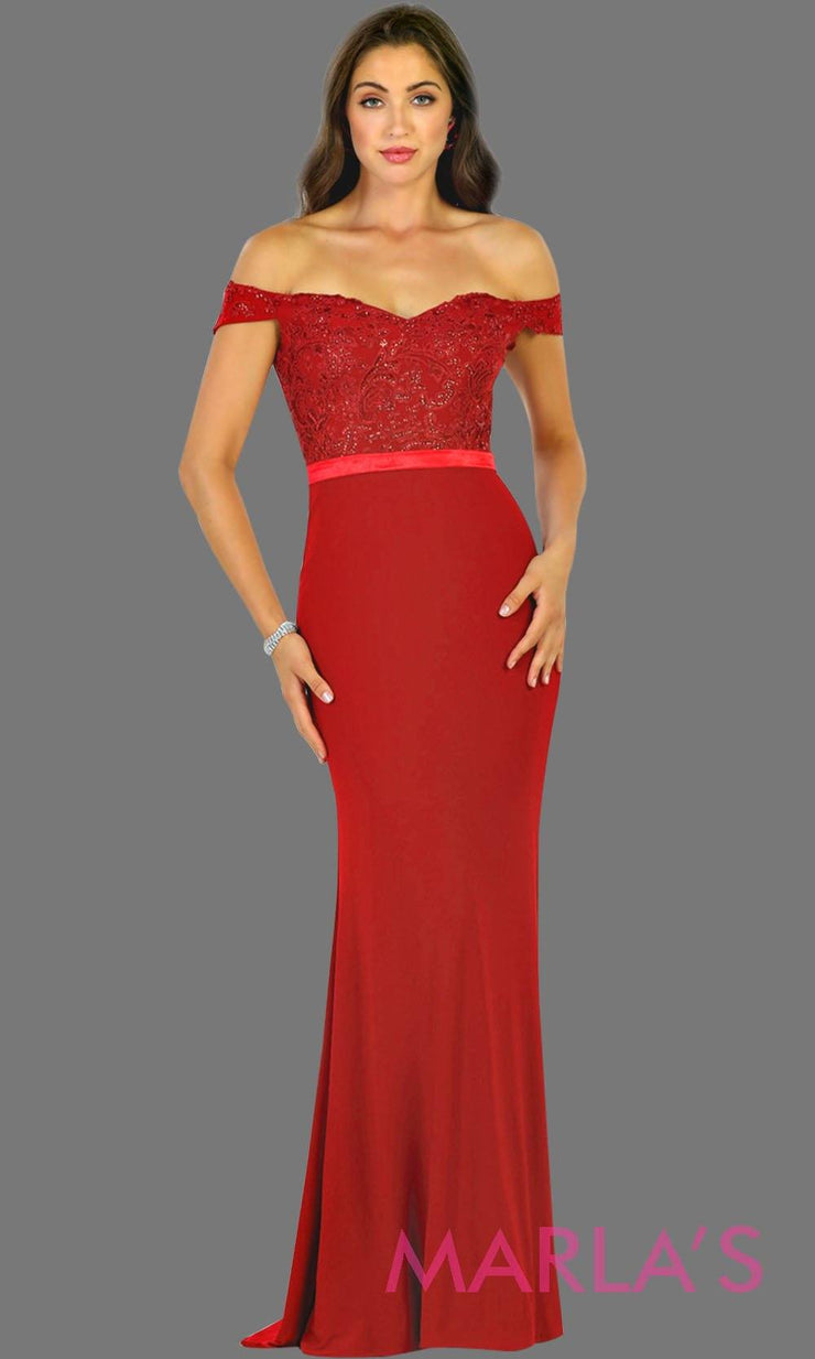 Long red off shoulder fitted dress with lace top. This sleek and sexy evening dress is perfect for gala, charity event, formal wedding guest dress, long western party dress. Plus sizes avail.