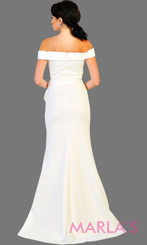 Back of Long off shoulder white lace bridal dress with high slit and broach. This white formal evening gown is perfect for simple wedding, second wedding, court wedding, civil wedding, destination wedding. Plus size available.
