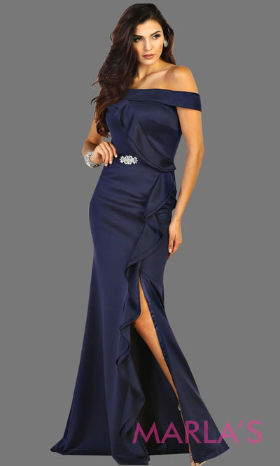 Long off shoulder light dark blue lace dress with high slit and broach. This navy blue formal evening gown is perfect for gala events, charity events, bridesmaid dresses, long western party dress. Plus size available.