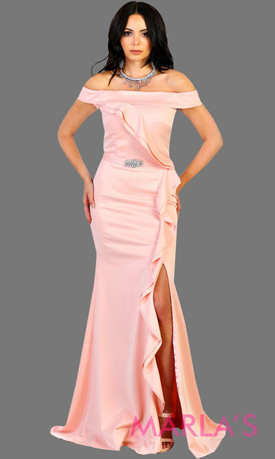 Long off shoulder light pink lace dress with high slit and broach. This baby pink formal evening gown is perfect for gala events, charity events, bridesmaid dresses, long western party dress. Plus size available.