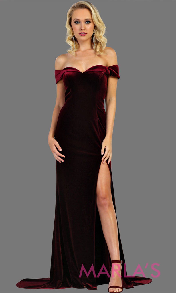df62e597b2c6 Long fitted velvet burgundy off shoulder dress with high slit.