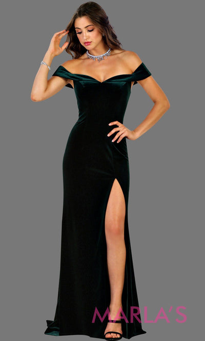 Long fitted velvet hunter green off shoulder dress with high slit. This sleek and sexy dark green is perfect for prom, formal party, gala, bridesmaid dresses, wedding guest dress, charity event. Available in plus sizes.
