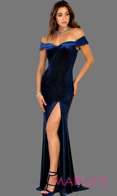 Long fitted velvet royal blue off shoulder dress with high slit. This sleek and sexy dark blue is perfect for prom, formal party, gala, bridesmaid dresses, wedding guest dress, charity event. Available in plus sizes.