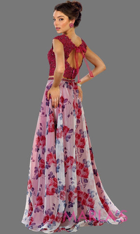 Long two piece hot pink dress with floral skirt and lace top. It has a flowy skirt. This flower print dress is perfect for prom, wedding guest dress, formal party, summer wedding, wedding guest dress. Available in plus sizes.