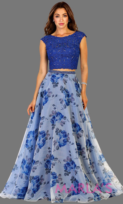 Long two piece royal blue dress with floral skirt and lace top. It has a flowy skirt. This flower print dress is perfect for prom, wedding guest dress, formal party, summer wedding, wedding guest dress. Available in plus sizes.