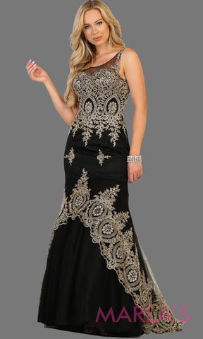 Long black high neck dress with gold lace train. This black evening gown is perfect for prom, engagement dress, wedding reception gown, arabic wedding, indian wedding. Available in plus sizes.