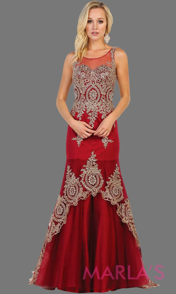 Long burgundy high neck dress with gold lace train. This dark red evening gown is perfect for prom, engagement dress, wedding reception gown, arabic wedding, indian wedding. Available in plus sizes.