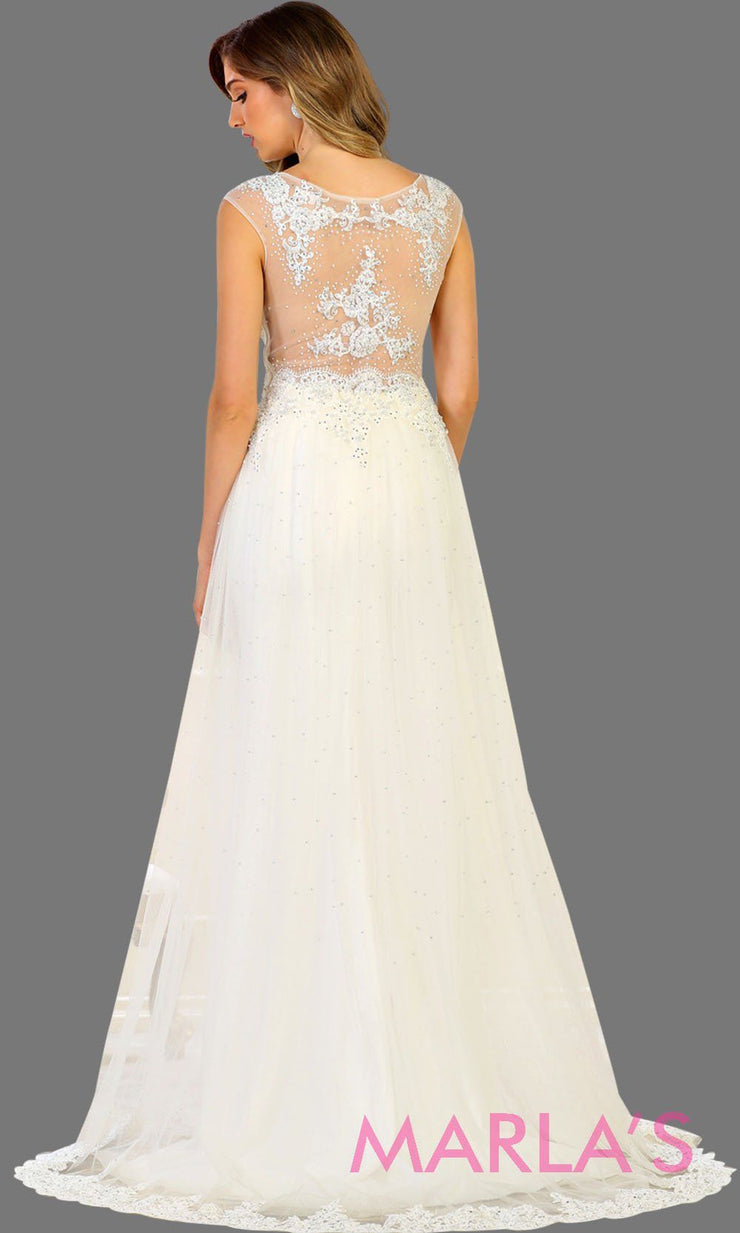Back of long ivory bridal ball gown with beading. High neck flowy evening dress with beading. This white wedding dress is perfect for simple wedding, second wedding, court wedding, civil wedding, princess gown. Available in plus size.