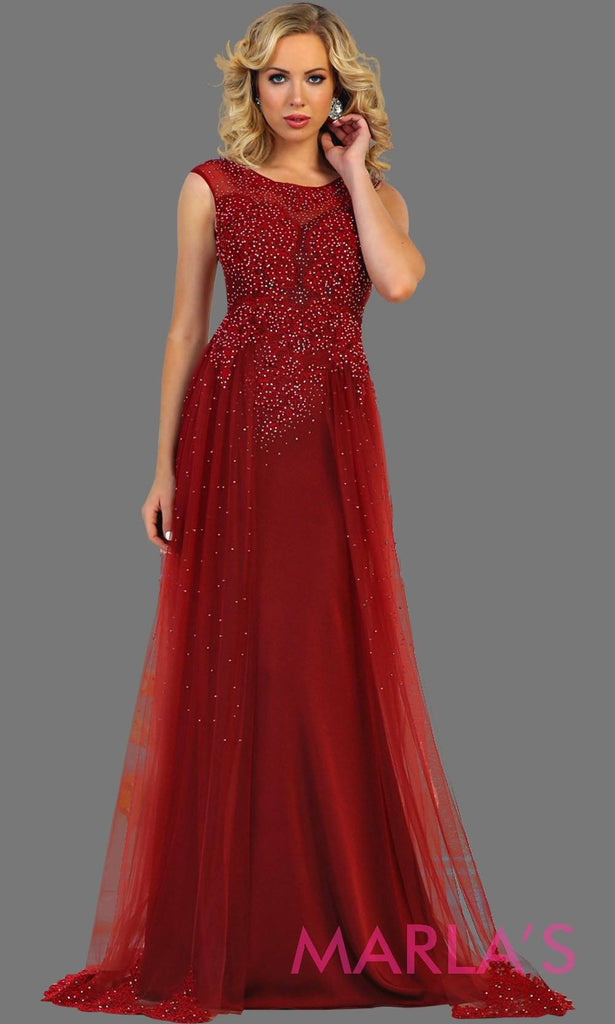 04d7fb3d2e267 Long burgundy bridal ball gown with beading. High neck flowy evening dress  with beading.