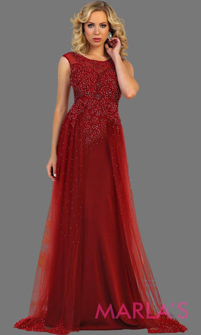 Long burgundy bridal ball gown with beading. High neck flowy evening dress with beading. This dark red wedding reception dress is perfect for indian wedding, lehnga, full length party western dress, gala. Avail in plus size.