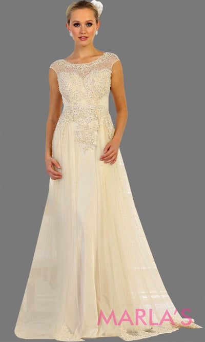 Long champagne bridal ball gown with beading. High neck flowy evening dress with beading.This wedding dress is perfect for simple wedding, second wedding, court wedding, civil wedding, princess gown. Available in plus size.