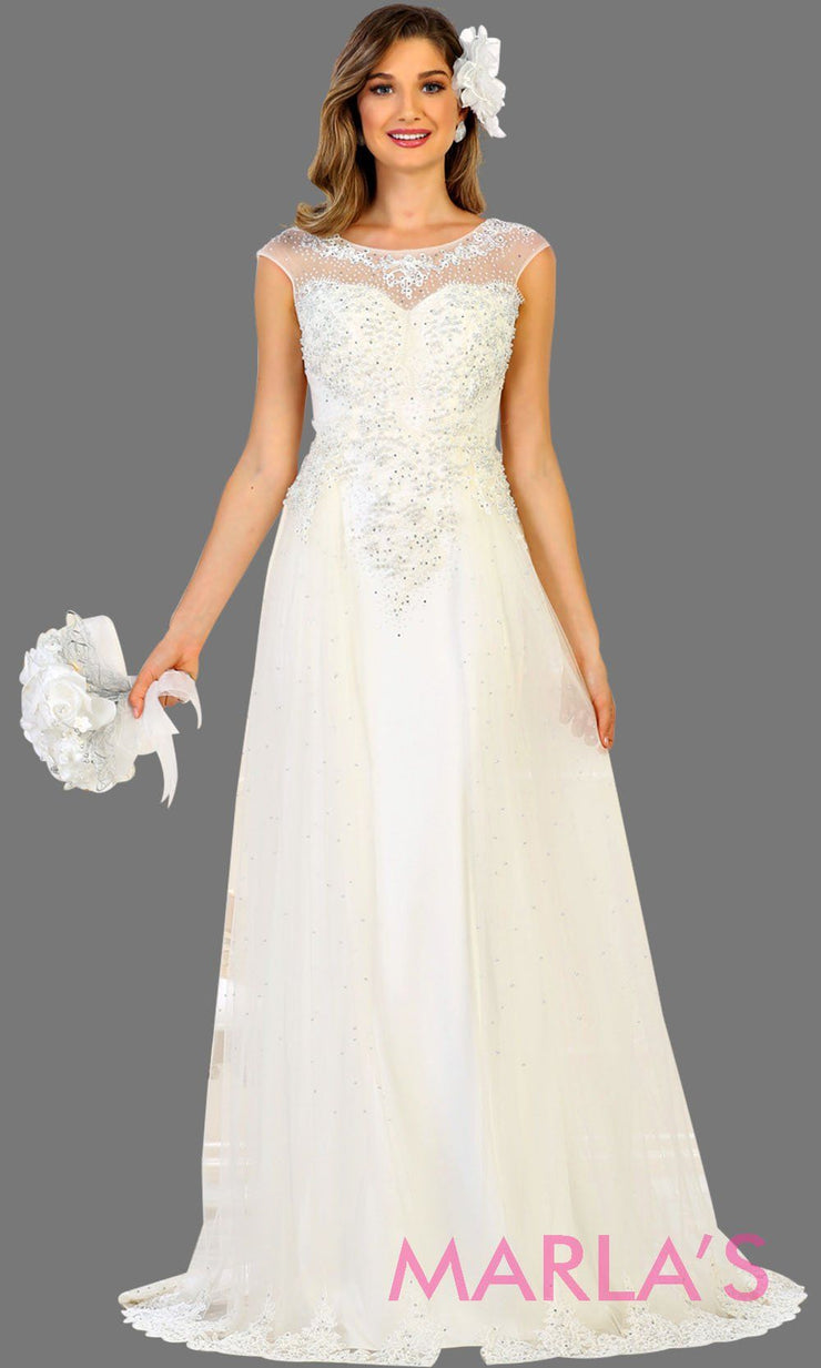 Long ivory bridal ball gown with beading. High neck flowy evening dress with beading. This white wedding dress is perfect for simple wedding, second wedding, court wedding, civil wedding, princess gown. Available in plus size.
