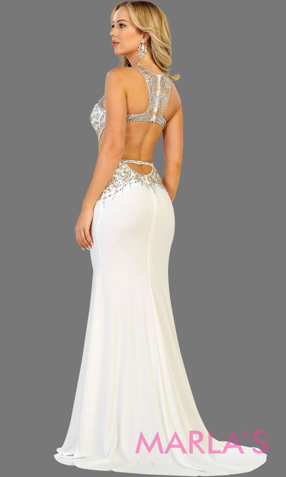 Back of Long white high neck beaded dress with open back. Perfect for modern wedding gown, open back bridal gown,  prom, gala, formal wedding, wedding reception, destination wedding, low back white gown, sleek and sexy dress.
