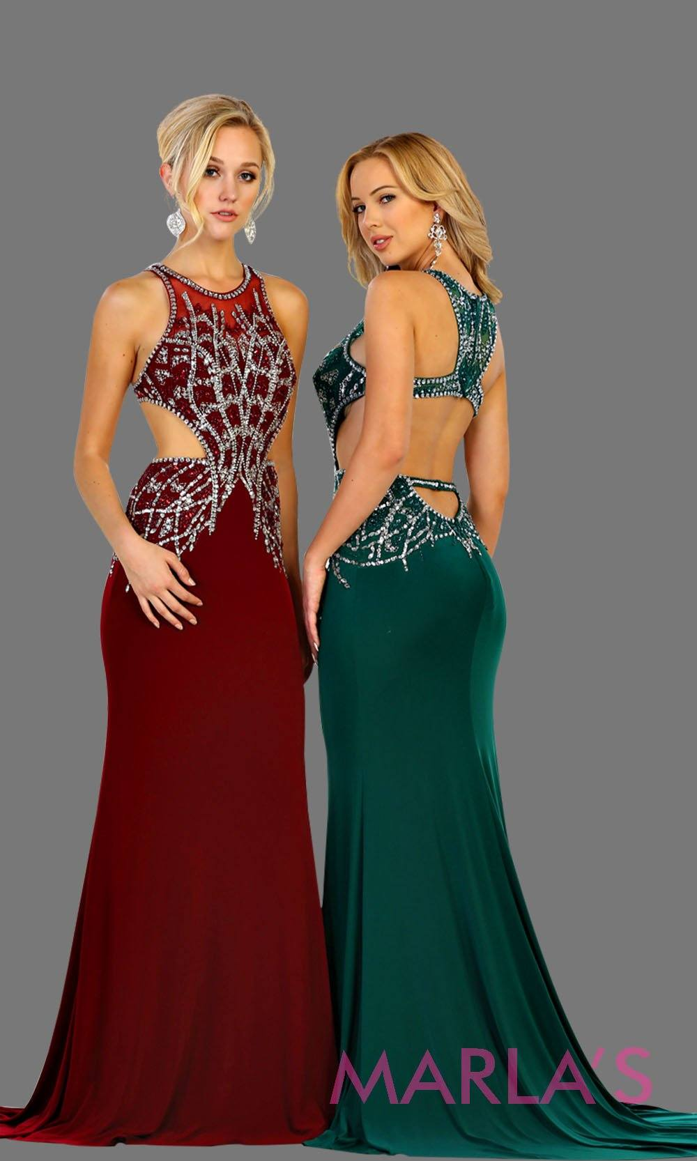 Long dark green high neck beaded dress with open back. Perfect hunter green or emerald gown for prom, gala, formal wedding guest dress, low back gown, sleek and sexy dress.