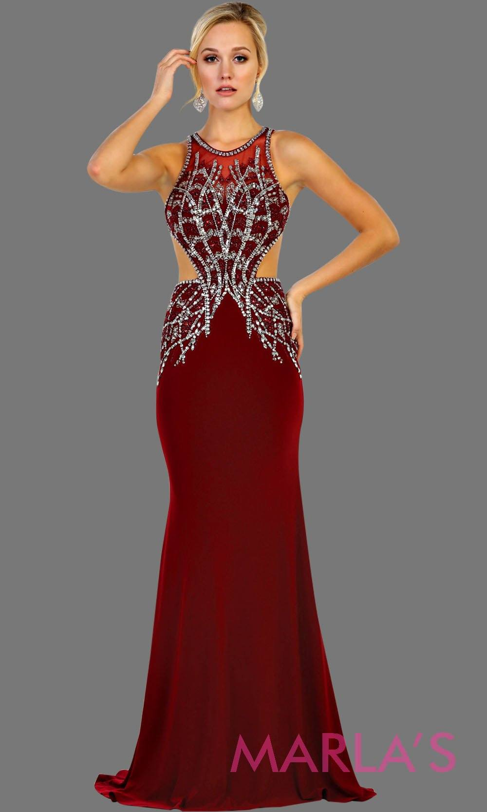 Long dark red high neck beaded dress with open back. Perfect burgundy gown for prom, gala, formal wedding guest dress, low back hot pink gown, sleek and sexy dress.
