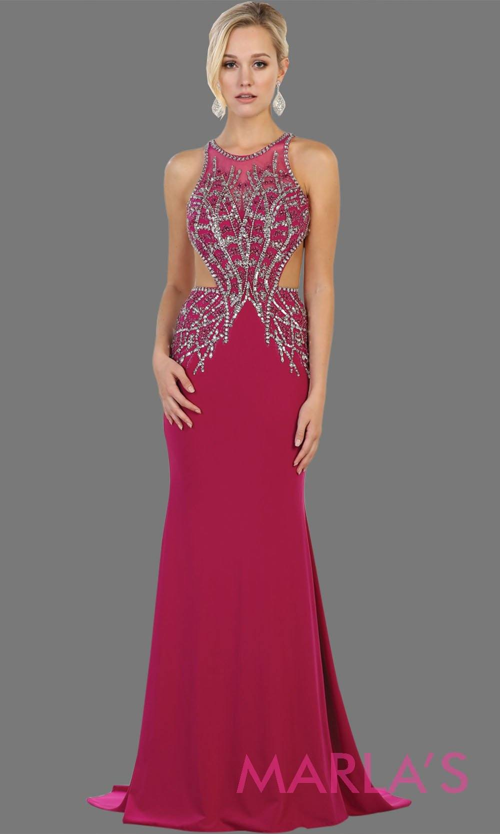 Long fuchsia high neck beaded dress with open back. Perfect for prom, gala, formal wedding guest dress, low back hot pink gown, sleek and sexy dress.