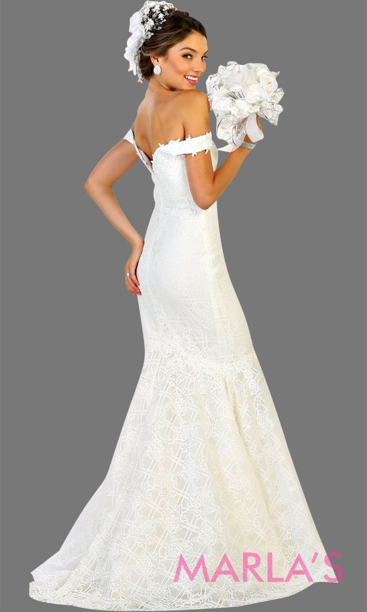 Back of Long off shoulder lace mermaid white bridal dress. This white wedding trumpet gown is perfect for wedding reception, wedding engagement dress, formal western party dress. Plus size avail.
