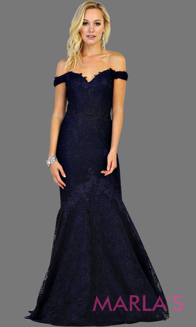 Long off shoulder lace mermaid dark blue dress. This navy trumpet gown is perfect for wedding reception, wedding engagement dress, indian wedding, formal western party dress. Plus size avail.
