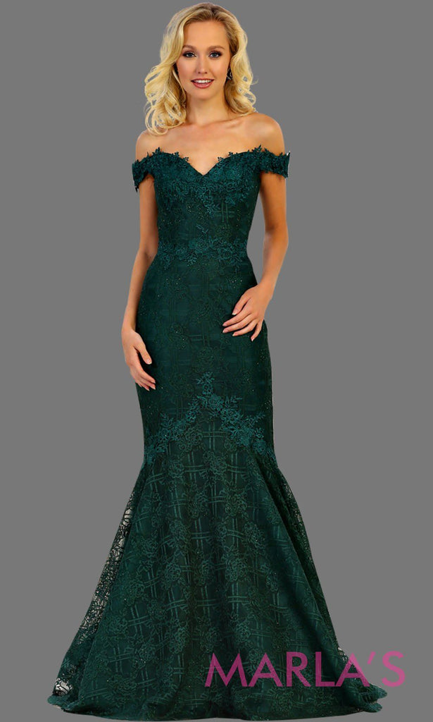 e1a7813d338c Long off shoulder lace mermaid dark green dress. This hunter green trumpet  gown is perfect ...