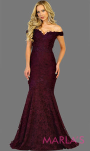 Long off shoulder lace mermaid dark red dress. This burgundy trumpet gown is perfect for wedding reception, wedding engagement dress, indian wedding, formal western party dress. Plus size avail.