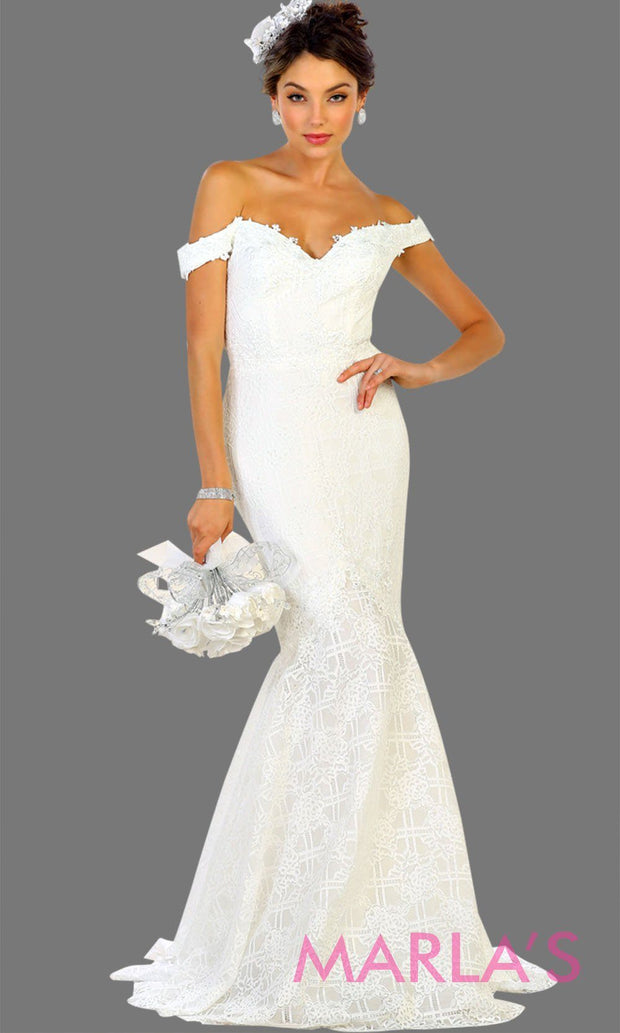 Long off shoulder lace mermaid white bridal dress. This white wedding trumpet gown is perfect for wedding reception, wedding engagement dress, formal western party dress. Plus size avail.