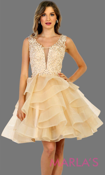Short champagne gold puffy graduatin dress, short grade 8 grad, bridal shower dress, short reception dress. Available in plus sizes.