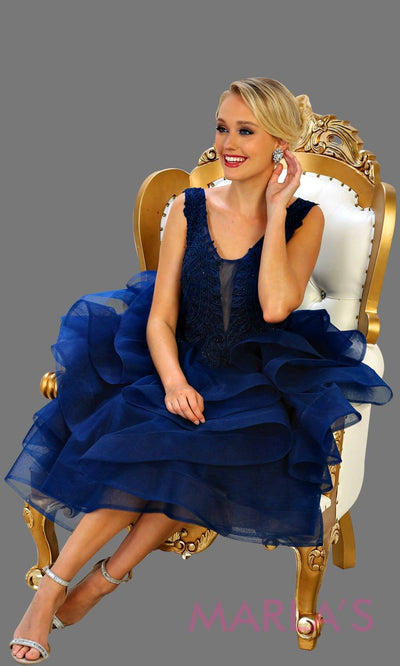 Short navy blue puffy graduation dress, short dark blue grade 8 grad, bridal shower dress, short reception dress. Available in plus sizes.
