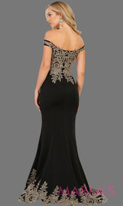 Back of Long off shoulder black fitted dress with gold lace. It has a train with gold lace trim. Perfect for prom, black engagement dress, wedding reception dress, formal party gown, wedding guest dress.