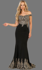 Long off shoulder black fitted dress with gold lace. It has a train with gold lace trim. Perfect for prom, black engagement dress, wedding reception dress, formal party gown, wedding guest dress.