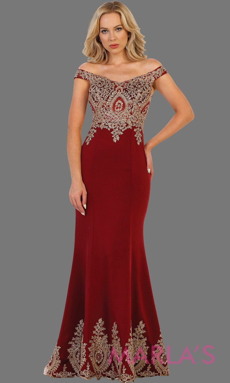 Long off shoulder burgundy fitted dress with gold lace. It has a train with gold lace trim. Perfect for prom, dark red engagement dress, wedding reception dress, formal party gown, wedding guest dress.