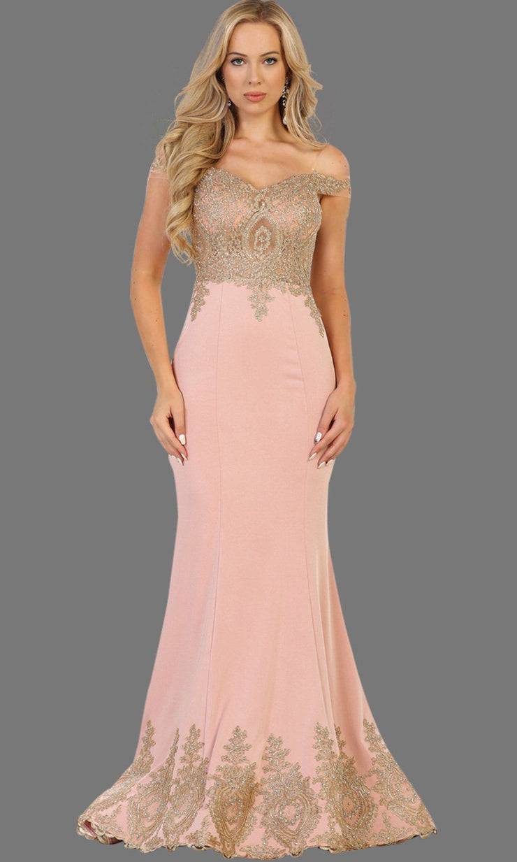Long off shoulder dusty rose fitted dress with gold lace. It has a train with gold lace trim. Perfect for prom, pink engagement dress, wedding reception dress, formal party gown, wedding guest dress.