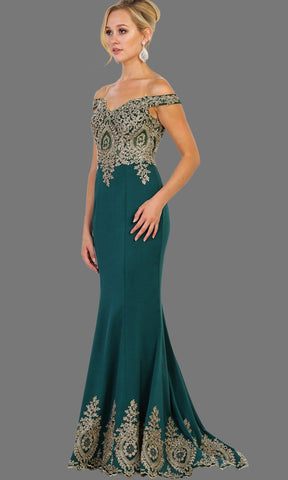Long off shoulder hunter green fitted dress with gold lace. It has a train with gold lace trim. Perfect for prom, dark green engagement dress, wedding reception dress, formal party gown, wedding guest dress.