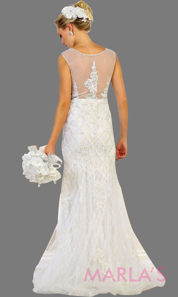 Back of Long white lace bridal mermaid gown and mesh back with v neck. This white wedding gown is perfect for a destination wedding, beach wedding, second wedding, civil wedding, court wedding. Plus size avail.