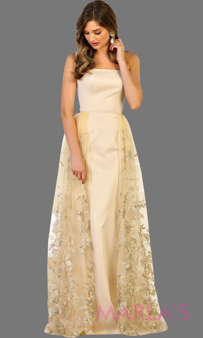 Long strapless champagne gold bridal gown with lace overlay. Perfect wedding dress for destination wedding, civil wedding, second wedding, simple wedding, wedding reception dress, engagement dress. Plus size available.