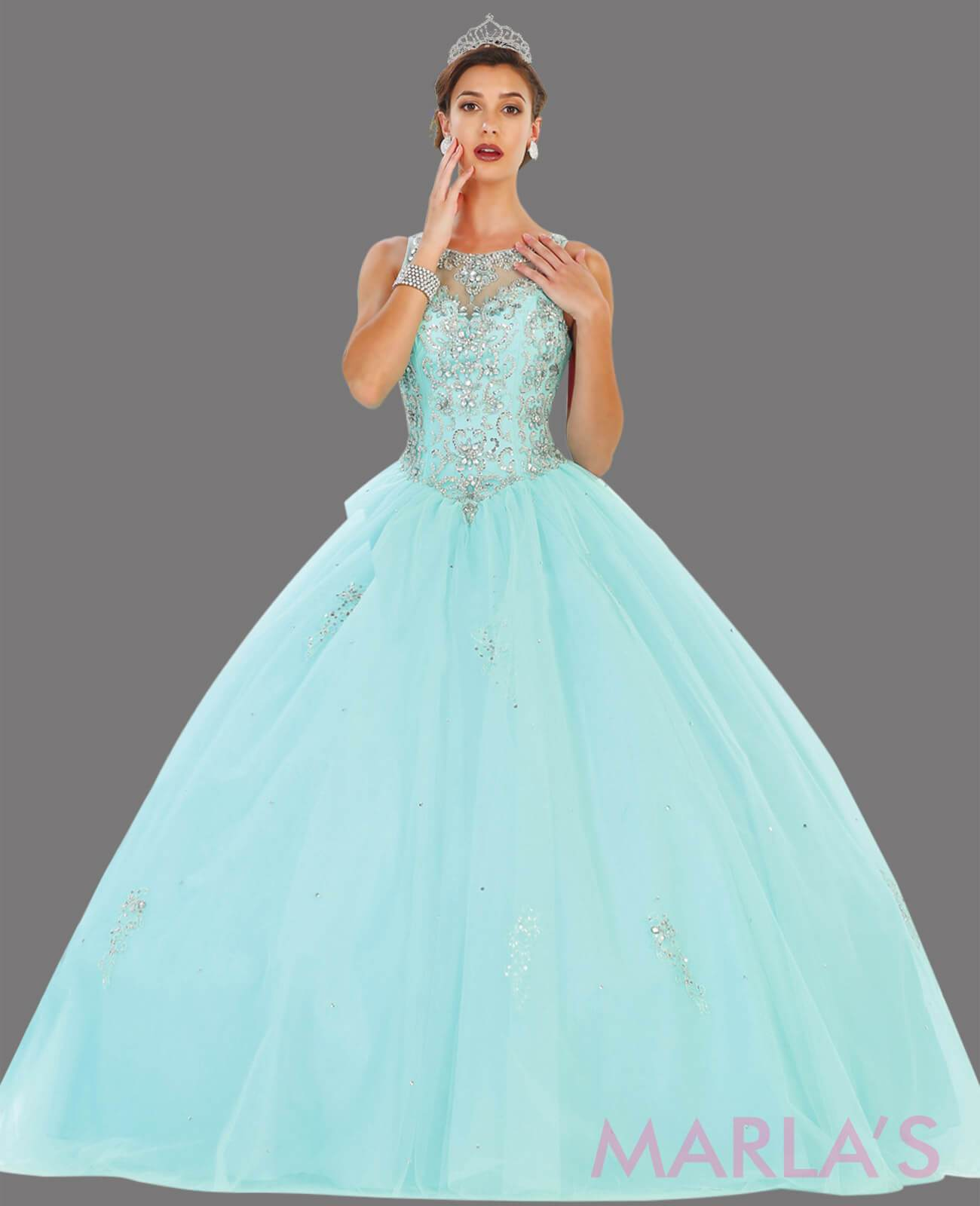 76.13L-Long aqua princess ball gown with gold lace trim and shrug Perfect for Engagement dress, Quinceanera, Sweet 16, Swet 15 and light blue Wedding Reception Dress. Available in plus sizes