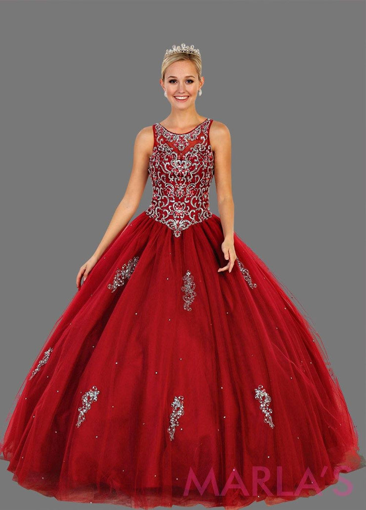 Long burgundy princess ball gown with gold lace trim and shrug Perfect for Engagement dress, Quinceanera, Sweet 16, Sweet 15 and dark red Wedding Reception Dress. Available in plus sizes