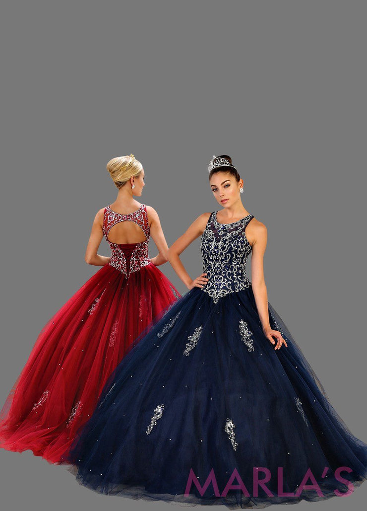 Long navy princess ball gown with gold lace trim and shrug Perfect for Engagement dress, Quinceanera, Sweet 16, Sweet 15 and dark blue Wedding Reception Dress. Available in plus sizes
