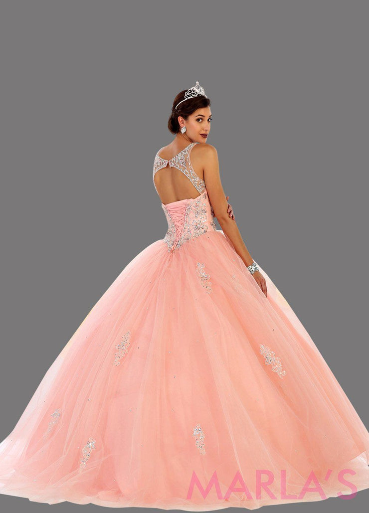 Back of Long blush pink strapless princess quinceanera ball gown with rhinestone beading. Perfect light pink dress for Engagement dress, Quinceanera, Sweet 16, Sweet 15 and pink Wedding Reception Dress. Available in plus