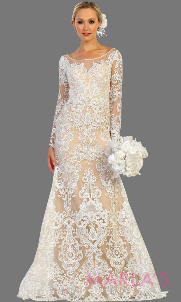 Long sleeve lace white champagne bridal gown with long sleeves. Modest lace wedding gown for second wedding, simple wedding, court wedding, civil wedding, modest wedding. Plus Sizes available.