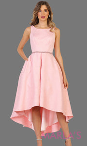High low blush pink high neck dress with open back. Perfect for graduation, grade 8 grad, hi lo prom dress, wedding guest dress, formal party gown, gala, semi formal, engagement dress. Available in plus sizes.