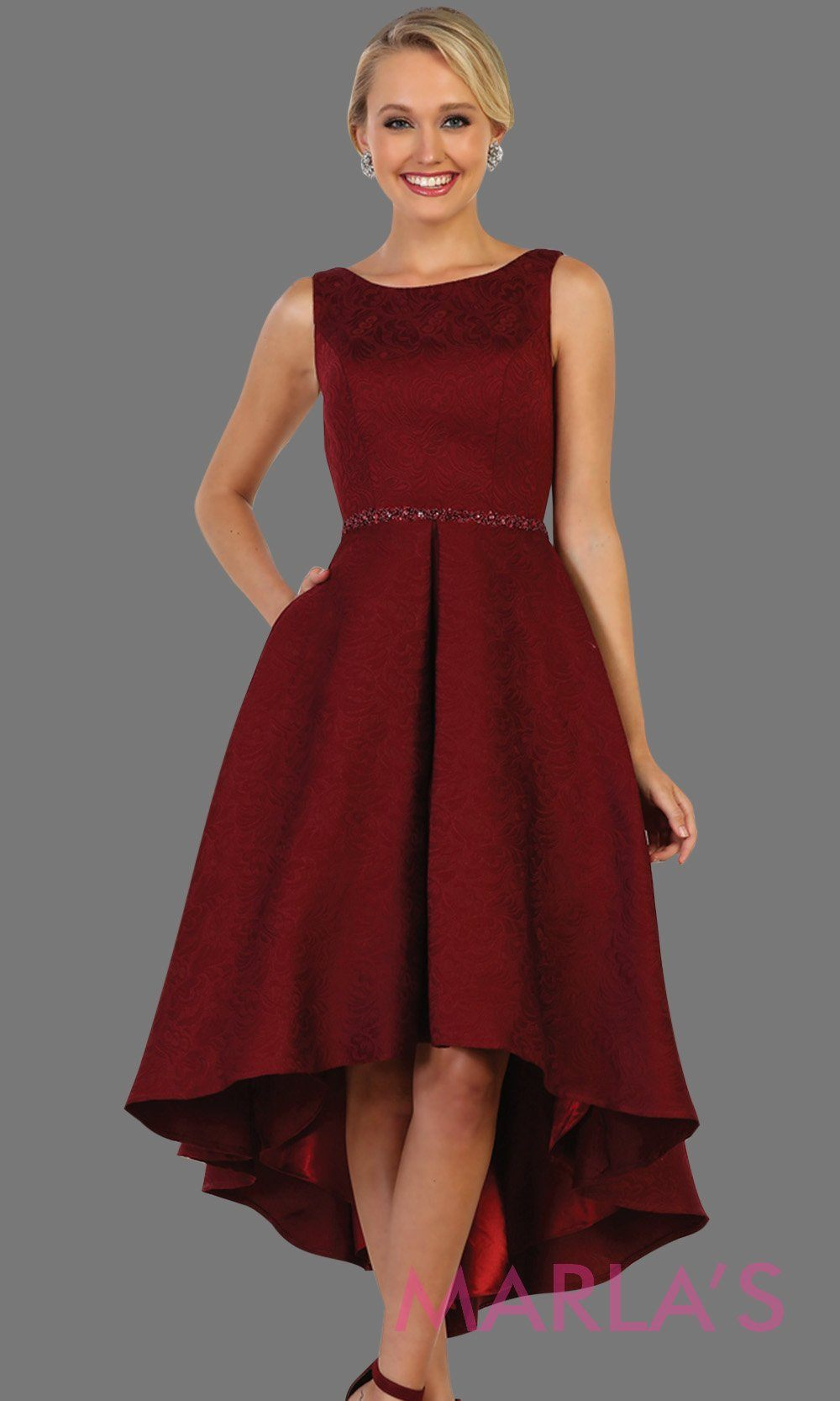 High low burgundy high neck dress with open back. Perfect for graduation, grade 8 grad, red hi lo prom dress, wedding guest dress, formal party gown, gala, semi formal, engagement dress. Available in plus sizes.